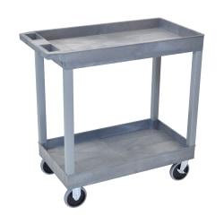 """Luxor E-Series 2-Shelf Tub Cart, 35 1/4""""H x 32""""W x 18""""D, Gray"""