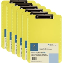 "Business Source Flat Clip Plastic Clipboard - 9"" x 12"" - Low-profile - Plastic - Neon Green - 6 / Bundle"