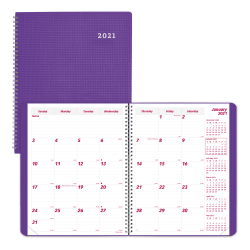 """Brownline® Duraflex Monthly Planner, 11"""" x 8 1/2"""", 50% Recycled, FSC® Certified, Purple, December 2020 to January 2022"""