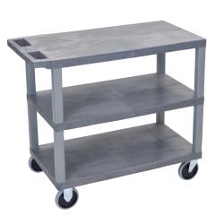 "Luxor E-Series Plastic Cart, 3-Shelves, Heavy Duty, 36 1/4""H x 35 1/4""W x 18""D, Gray"