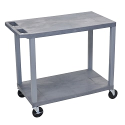 "Luxor E-Series Plastic Cart, 2-Shelves, 35 1/4""H x 32""W x 18""D, Gray"
