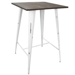 Lumisource Oregon Industrial Table, Square, Vintage White/Espresso