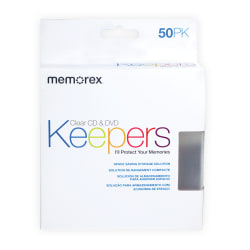 Memorex® CD & DVD Keepers, Clear, Pack Of 50