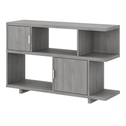 "kathy ireland® Home by Bush Furniture Madison Avenue 30""H 2-Shelf Low Geometric Bookcase With Doors, Modern Gray, Standard Delivery"