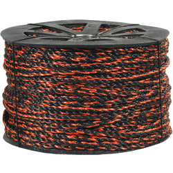 "Office Depot® Brand Twisted Polypropylene Rope, 2,450 Lb, 3/8"" x 600', Black/Orange"