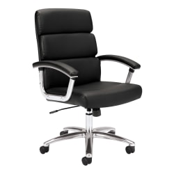 HON® Traction™ Executive Bonded Leather Chair With Padded Loop Arms, Black