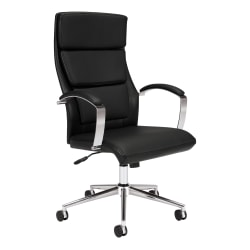 HON® Bonded Leather High-Back Chair, Black