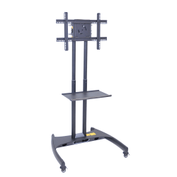 """H. Wilson FP2500 Series Flat-Panel Mobile TV Stand With Mount For TVs Up to 60"""", 62 1/2""""H x 32 3/4""""W x 28 3/4""""D, Black"""