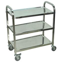 "Luxor L100S3 Stainless-Steel 3-Shelf Kitchen Cart, 35""H x 26""W x 16""D, Silver"