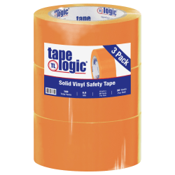 """BOX Packaging Solid Vinyl Safety Tape, 3"""" Core, 2"""" x 36 Yd., Orange, Case Of 3"""