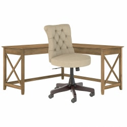 """Bush Furniture Key West 60""""W L-Shaped Desk With Mid-Back Tufted Office Chair, Reclaimed Pine, Standard Delivery"""