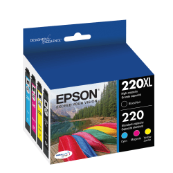 Epson® DuraBrite® T220XL-BCS High-Yield Black/Standard Yield Cyan/Standard Yield Magenta/Standard Yield Yellow Ink Cartridges, Pack Of 4