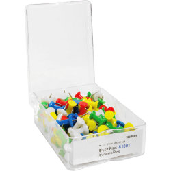 "Sparco Pushpins, 3/8"", Assorted Colors, Box Of 100"