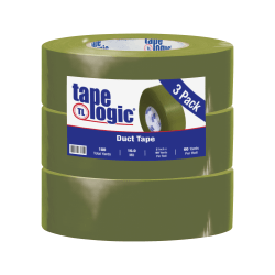 """Tape Logic® Duct Tape, 10 Mil, 2"""" x 60 Yd., Olive Green, Case Of 3"""