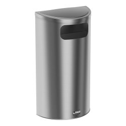 """Suncast Commercial Accent Series Decorative Crescent Metal Trash Can, 9 Gallons, 32-11/16""""H x 18-1/8""""W x 9-1/4""""D, Stainless Steel"""