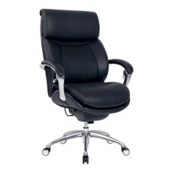 Serta® iComfort i5000 Ergonomic Bonded Leather High-Back Executive Chair, Onyx Black/Silver