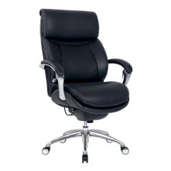 Serta® iComfort i5000 Executive Bonded Leather High-Back Chair, Onyx Black/Silver