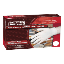 Protected Chef Latex General-Purpose Gloves - Large Size - Unisex - Latex - Natural - Ambidextrous, Disposable, Powder-free, Comfortable, Snug Fit - For Cleaning, Food Handling - 100 / Box - 3.5 mil Thickness