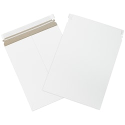 "Office Depot® Brand Self-Seal Stayflats Mailers, 9 3/4"" x 12 1/4"", White, Box Of 100"