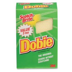 Scotch-Brite® Dobie All-Purpose Cleaning Pad, Yellow, Pack Of 3