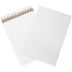 """Office Depot® Brand Self-Seal Stayflats Mailers, 13"""" x 18"""", White, Box Of 100"""