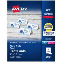 "Avery® Inkjet/Laser Tent Cards, 2"" x 3 1/2"", White, Box Of 160"
