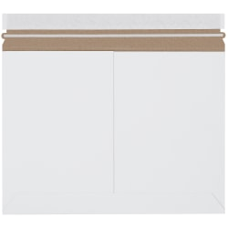 "Office Depot® Stayflats Side-Loading Mailers, 12 1/4"" x 9 3/4"", White, Box Of 100"