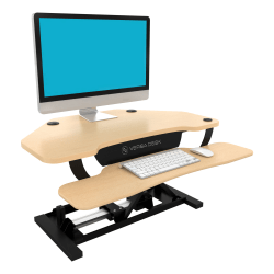 VersaDesk Power Pro Corner Push-Button Electric Height-Adjustable Sit-to-Stand Desk Riser, Maple