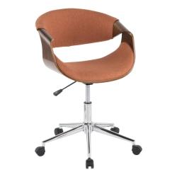 LumiSource Curvo Mid-Century Modern Mid-Back Chair, Orange/Walnut/Silver