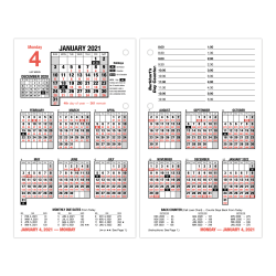 """AT-A-GLANCE® Daily Loose-Leaf Desk Calendar Refill, 3-1/2"""" x 6"""", January To December 2021, E71520"""