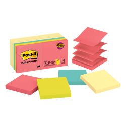 "Post-it® Pop-up Notes, 3"" x 3"", Assorted Colors, 100 Sheets Per Pad, Pack Of 14 Pads"