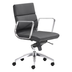 Zuo Modern® Engineer Low-Back Office Chair, Black/Chrome