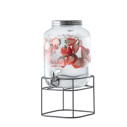 Glass Tabletop Beverage Dispenser, 2 Gallons, Clear