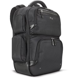 """Solo Gramercy Carrying Case (Backpack) for 17.3"""" Notebook - Black - Bump Resistant Interior, Scratch Resistant Interior - Shoulder Strap, Handle - 18.5"""" Height x 16.5"""" Width x 4.3"""" Depth"""