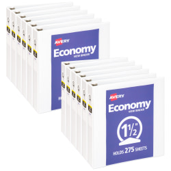 "Avery® Economy View 3-Ring Binder, 1 1/2"", White, Pack Of 12"