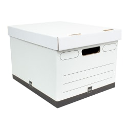 "Office Depot® Brand Heavy-Duty Quick Set Up Storage Boxes, Letter/Legal Size, 15"" x 12"" x 10"", White/Black, Case Of 5"