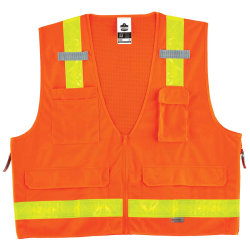 Ergodyne GloWear® Safety Vest, Hi-Gloss Surveyor's 8250ZHG, Type R Class 2, 4X/5X, Orange
