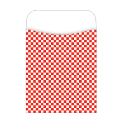 """Barker Creek Library Pockets, 3 1/2"""" x 5 1/8"""", Red Checks, Pack Of 30"""