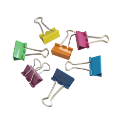 """Office Depot® Brand Fashion Binder Clips, 1"""", Assorted Colors, Pack Of 12"""