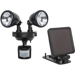 Maxsa Solar-Powered Dual Head LED Security Spotlight - Black - LED - 160 Lumens - Black - Roof-mountable - for Deck, Patio, Driveway, Walkway, Doorway, Garage, Mail, Garbage, Backyard, Barn, Shed