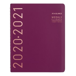 """AT-A-GLANCE® Contempo Academic Weekly/Monthly Planner, 8-1/4"""" x 11"""", Wine, July 2020 To June 2021, 70957X59"""