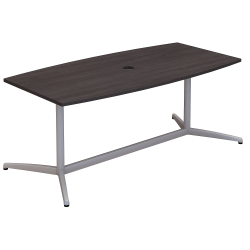 """Bush Business Furniture 72""""W x 36""""D Boat Shaped Conference Table with Metal Base, Storm Gray, Premium Installation"""