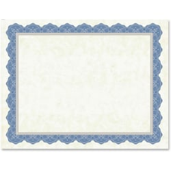 """Geographics Drama Blue Border Blank Certificates - 8.50"""" x 11"""" - Inkjet, Laser Compatible with Blue Border - 15 / Pack"""