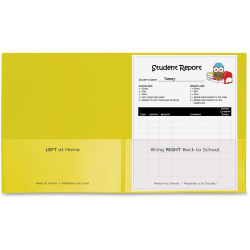 """C-Line Classroom Connector Letter Report Cover - 8 1/2"""" x 11"""" - 2 Internal Pocket(s) - Polypropylene - Yellow - 25 / Box"""
