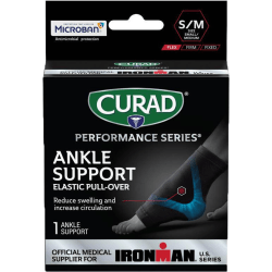 CURAD® Elastic Ankle Support With Microban®, Small/Medium, Black