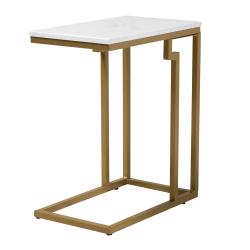 """Baxton Studio Modern End Table, 22-7/8""""H x 11-13/16""""W x 18-15/16""""D, White/Gold"""