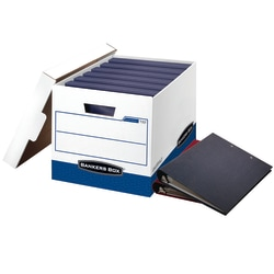 "Bankers Box® Binderbox™ Heavy-Duty Storage Boxes With Locking Lift-Off Lids And Built-In Handles, 18 1/2"" x 12 1/4"" x 12"", 60% Recycled, Blue/White, Case Of 12"
