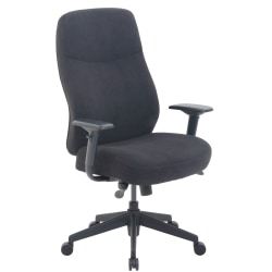 Serta® Commercial Motif Fabric Executive Big And Tall High-Back Chair, Black/Silver