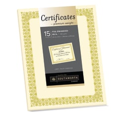 """Southworth® Premium Foil Certificates, 8 1/2"""" x 11"""", 66 Lb, Ivory/Gold Foil Fleur, Pack Of 15"""