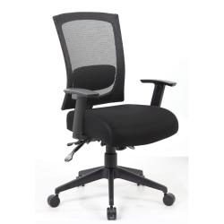 Boss Multifunction Mesh Mid-Back Task Chair, Mesh/Fabric, Black